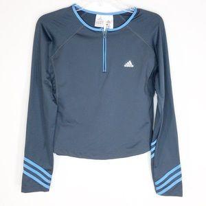 Adidas Climacool Quarter Zip Top Gray & Blue